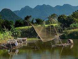 Asia, Vietnam, Canh Nang, fishing nets above river.
