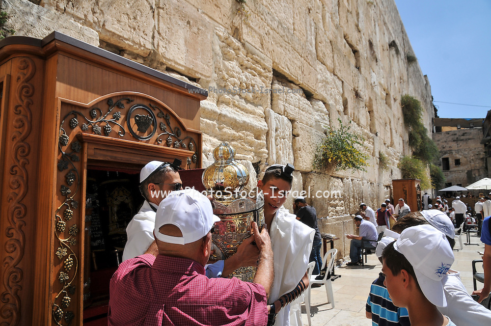 Bar Mitzvah ceremony at the wailing wall, Old City, Jerusalem, Israel
