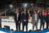 KELOWNA, BC - SEPTEMBER 21:  Head coach Adam Foote, assistant coaches Kris Mallette and Vern Fiddler,  stand on the bench during opening ceremonies against the Spokane Chiefs  at Prospera Place on September 21, 2019 in Kelowna, Canada. (Photo by Marissa Baecker/Shoot the Breeze)