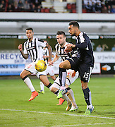 Dundee's Kane Hemmings tries to lob Dunfermline keeper Sean Murdoch - Dunfermline Athletic v Dundee - Scottish League Cup at East End Park<br /> <br />  - © David Young - www.davidyoungphoto.co.uk - email: davidyoungphoto@gmail.com