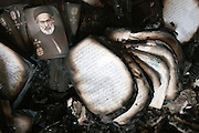 "Bibles and holy images burned inside the building of ""Association friends of the byble""in Fayoum assaulted by a mob on  14 August following the crackdown on the muslim Brothers camp of Rabaa in Cairo."