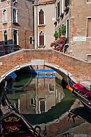 Enchanting image of bridge reflections at Ponte S. Maria Nova in Venice, Italy.
