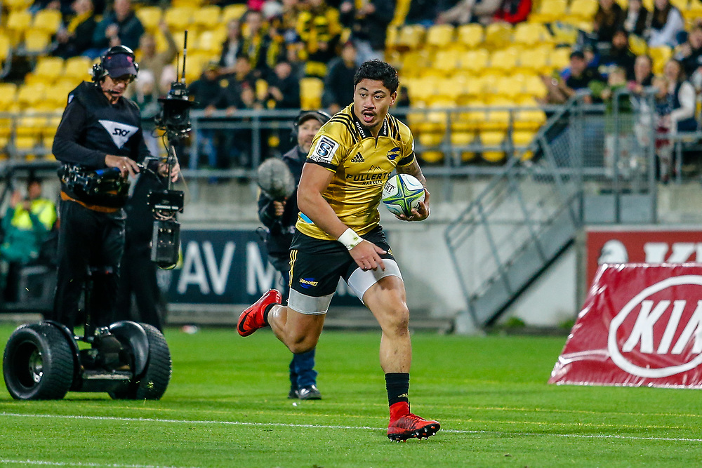 Ben Lam running with the ball during the Super rugby (Round 12) match played between Hurricanes  v Lions, at Westpac Stadium, Wellington, New Zealand, on 5 May 2018.  Hurricanes won 28-19.