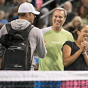 March 7, 2015, Indian Wells, California:<br /> Andy Roddick laughs with Rick Leach and Madison Keys during the McEnroe Challenge for Charity presented by Masimo in Stadium 2 at the Indian Wells Tennis Garden in Indian Wells, California Saturday, March 7, 2015.<br /> (Photo by Billie Weiss/BNP Paribas Open)
