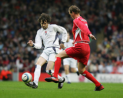 LIVERPOOL, ENGLAND - SUNDAY MARCH 27th 2005: Liverpool Legends' Gary Gillespie and Celebrity XI's Sergio Pizzorno during the Tsunami Soccer Aid match at Anfield. (Pic by David Rawcliffe/Propaganda)