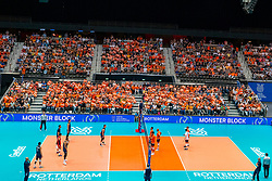 11-08-2019 NED: FIVB Tokyo Volleyball Qualification 2019 / Netherlands - USA, Rotterdam<br /> Final match pool B in hall Ahoy between Netherlands vs. United States (1-3) and Olympic ticket  for USA / Orange support, fans, Centercourt Ahoy hall