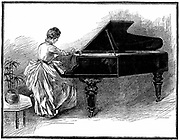 Young woman tuning a grand piano. Piano tuning was considered a suitable occupation for a young lady forced to earn a living. Wood engraving, 1887.