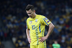 October 9, 2017 - Kiev, Ukraine - Ukraine's Yevhen Konoplyanka reacts during the World Cup Group I qualifying soccer match between Ukraine and Croatia at the Olympic Stadium in Kiev. Ukraine, Monday, October 9, 2017  (Credit Image: © Danil Shamkin/NurPhoto via ZUMA Press)
