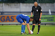 AFC Wimbledon attacker Adam Roscrow taking a penalty during the Pre-Season Friendly match between AFC Wimbledon and Bristol City at the Cherry Red Records Stadium, Kingston, England on 9 July 2019.