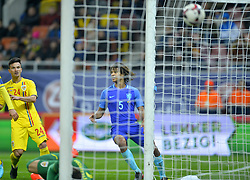 November 14, 2017 - Bucharest, Romania - Cristian Ganea is looking after the goal of Luuk De Jong during International Friendly match between Romania and Netherlands at National Arena Stadium in Bucharest, Romania, on 14 november 2017. (Credit Image: © Alex Nicodim/NurPhoto via ZUMA Press)