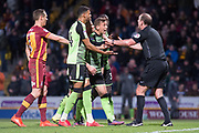 Plymouth appeal to referee Carl Boyeson on his penalty decision toward Bradfrord during the EFL Sky Bet League 1 match between Bradford City and Plymouth Argyle at the Northern Commercials Stadium, Bradford, England on 11 November 2017. Photo by Craig Zadoroznyj.