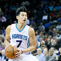 03 November 2015: Charlotte Hornets guard Jeremy Lin (7) dribbles during the Charlotte Hornets  130-105 victory over the Chicago Bulls, at the Time Warner Cable Arena, in Charlotte, North Carolina, USA.