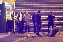 MANCHESTER 19.09.2017  Door staff seen throwing a man out teh fire exit of a night  club <br /> <br /> Freshers week continues in Manchester which has seen 1000s of students out drinking every night since Sunday.