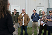 Members of Ohio University's first Sustainability Summit listen to Sustainability Director Annie Laurie Cadmus speak after seeing the first half of the compost facility. Photo by Olivia Wallace