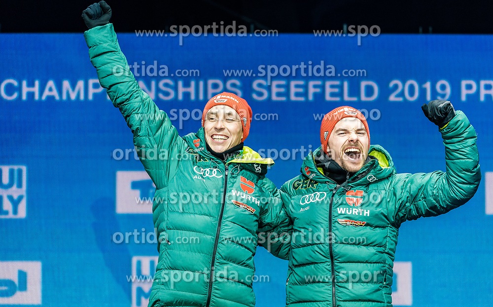24.02.2019, Medal Plaza, Seefeld, AUT, FIS Weltmeisterschaften Ski Nordisch, Seefeld 2019, Nordischen Kombination, Teambewerb, Siegerehrung, im Bild Weltmeister und Goldmedaillengewinner Eric Frenzel, Fabian Riessle (GER) // World champion and Gold medalist Eric Frenzel Fabian Riessle of Germany during the winner ceremony for the team competition Nordic Combined of FIS Nordic Ski World Championships 2019 at the Medal Plaza in Seefeld, Austria on 2019/02/24. EXPA Pictures © 2019, PhotoCredit: EXPA/ Stefan Adelsberger