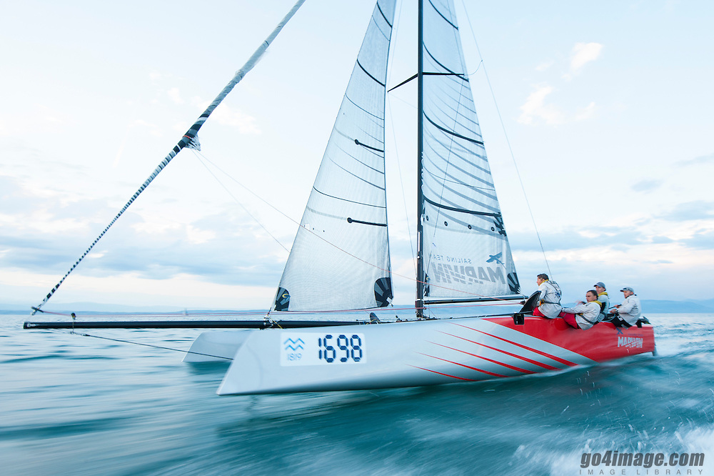 Geneva June 15th 2013 Regatta Bol d' Or, Marwin Sailing Team racing with a GC32 Carbon Catamaran