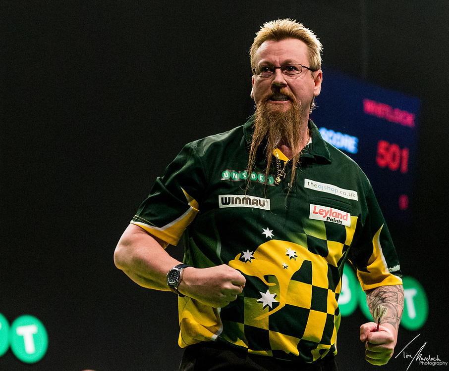 MELBOURNE, Australia - Saturday 19 August 2017: Simon Whitlock during the quarter finals of the Unibet Melbourne Dart Masters at Hisense Arena on Saturday 19 August 2017.<br /> <br /> <br /> Photo Credit: Tim Murdoch/Tim Murdoch Photography