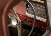 Keys through steering wheel of old Bedford Truck<br />