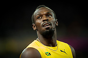 Usain Bolt competes in the 100 metres race at the 2017 IAAF World Athletics Championships at the Queen Elizabeth Olympic Stadium in London.