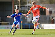Jamie Allen, Jacob Blyth during the Sky Bet League 1 match between Rochdale and Blackpool at Spotland, Rochdale, England on 16 April 2016. Photo by Daniel Youngs.