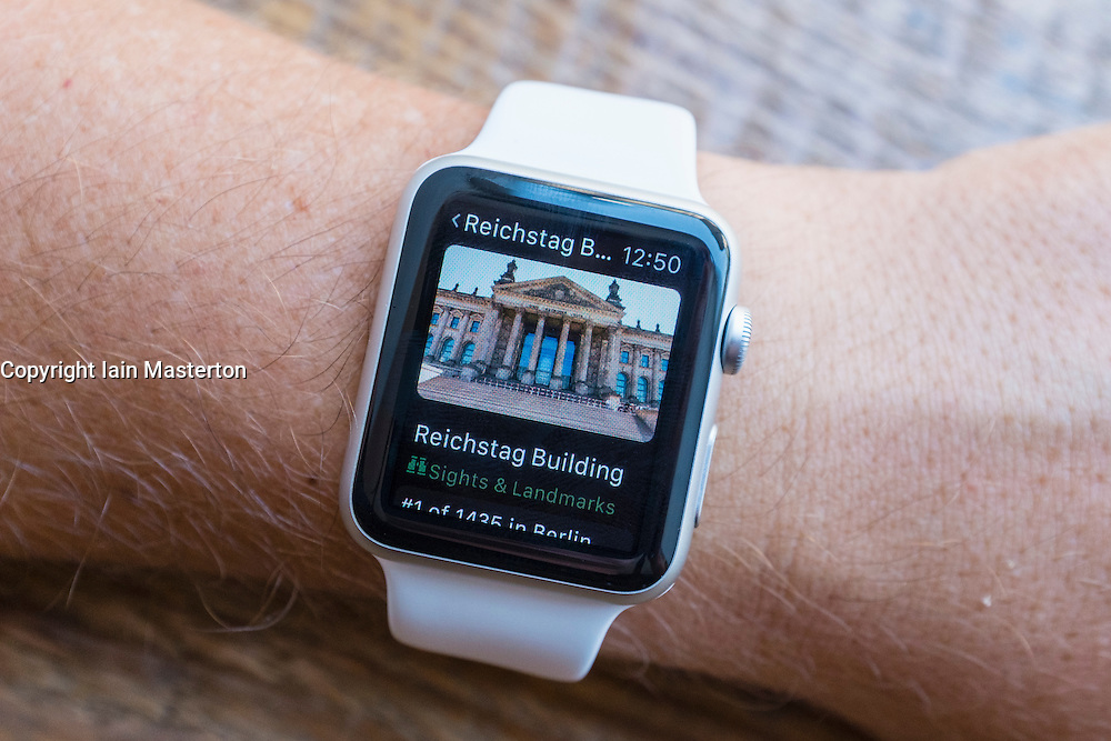 Travel guide to tourist landmarks in Berlin on an Apple Watch