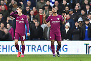 Goal - Raheem Sterling (7) of Manchester City points to the sky as he celebrates scoring a goal to give a 0-2 lead to the away team during the The FA Cup 4th round match between Cardiff City and Manchester City at the Cardiff City Stadium, Cardiff, Wales on 28 January 2018. Photo by Graham Hunt.