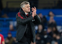 Football - 2018 / 2019 Emirates FA Cup - Fifth Round: Chelsea vs. Manchester United <br /> <br /> Ole Gunnar Solskjaer, manager of Manchester United, applauds the victory and celebrates with the fans at Stamford Bridge<br /> <br /> COLORSPORT/DANIEL BEARHAM