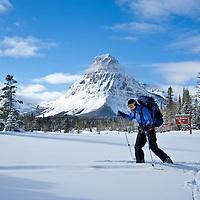 modern woman skiing two medicine valley, winter glacier national park, sinopah mountain, montana