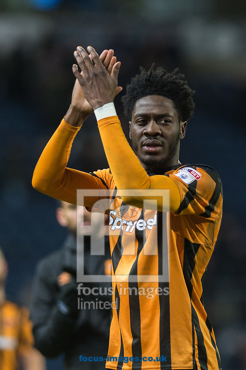 Ola Aina of Hull City applauds fans following the FA Cup match at Ewood Park, Blackburn<br /> Picture by Matt Wilkinson/Focus Images Ltd 07814 960751<br /> 06/01/2018