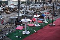 Piazza Bologni, Palermo, Italy - 4 January, 2011: A cafe terrace by a renovation site in Piazza Bologni. ### Piazza Bologni, Palermo / 4 gennaio 2011> il terrazzo di un bar presso un cantiere di restauro a Piazza Bologni, Palermo.