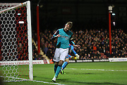 Jordan RHODES missing opportunity during the Sky Bet Championship match between Brentford and Blackburn Rovers at Griffin Park, London, England on 13 December 2014.
