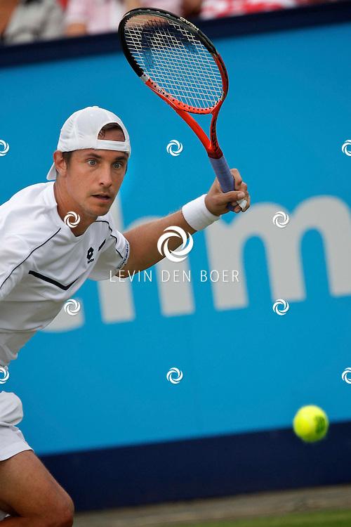 ROSMALEN - Op de Unicef Open is dit de wedstrijd tussen Marcos Baghdatis en Denis Gremelmayr. Met op de foto tennisser Denis Gremelmayr. FOTO LEVIN DEN BOER - PERSFOTO.NU
