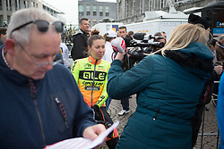 Janneke Ensing (NED) of Ale-Cipollini Cycling Team gives a quick interview before the Amstel Gold Race Ladies Edition - a 121.6 km road race, between  Maastricht and Valkenburg on April 16, 2017, in Limburg, Netherlands.