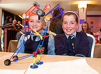 Orla de Vere, Sophie Dillon with Dinosaurus Bobby De Flash  from Scoil Croi Naofa Athenry who took part in the  Medtronic Knex Challenge at the Radisson blu Hotel.  Medtronic KNEX Challenge is for  primary school children completing  exceptional tasks which will be judged on the level of engineering, innovation and communication displayed by the teams.. .The final event of the week is the Medtronic  Junior FIRST LEGO League challenge on THURSDAY. This is the second year The Galway Education Centre has hosted this competition - one of only six countries in the world who do so. Following the success of last year, over 500 school children from all over the country are expected to come along and practice their robotics, presentation and teamwork skills live on the night!. .Bernard Kirk, Director of The Galway Education Centre says; ?Working on this three day event every year is fun and exciting and always surprising. The talent, instinct and drive we discover in these young children is an inspiration to all of us. We look forward to the continued success of all of our challenges which would not be possible without the support of companies like Medtronic, SAP, HP and LEGO?.. .All of these events are open to the public and free admission. They will also be streamed live on line at www.galwayeducationcentre.ie. Photo:Andrew Downes.