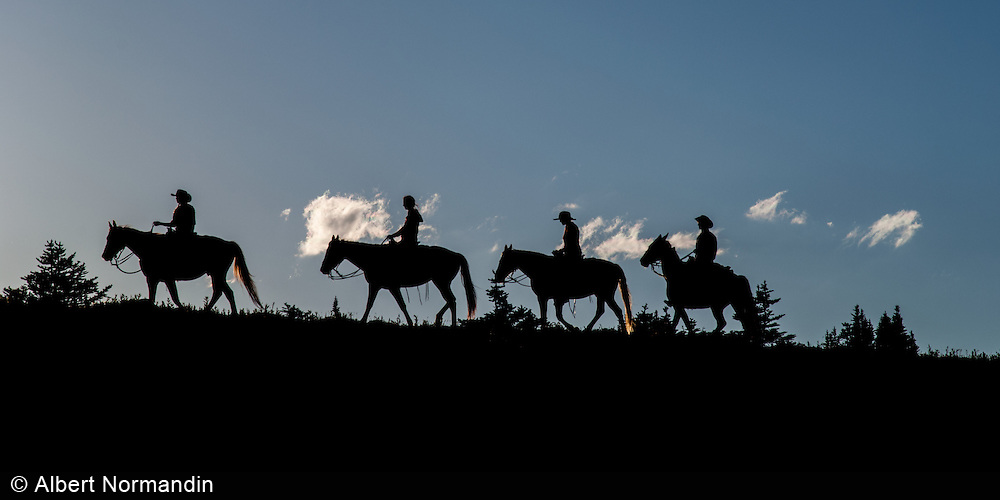Cowboys and cowgirls riding the ridge, Cariboo Chilcotin Coast, British Columbia, Canada