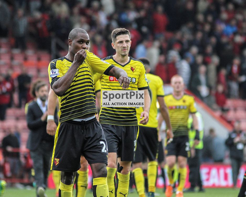 Odion IGhalo of Watford kisses the watford badge after the game between Bournemouth and Watford on Saturday 3rd of October 2015.
