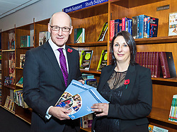 Deputy First Minister John Swinney launches the Education (Scotland) Bill 2018 consultation. The bill aims to radically reform the education system in Scotland, giving more power to headteachers, more support to teachers and strengthening the role of parents and young people. Mr Swinney launched the consultation at the Royal High School in Edinburgh where he joined a discussion with the school's Pupil Parliament.<br /> <br /> Pictured: Deputy First Minister, John Swinney and Rector of The Royal High School, Pauline Walker