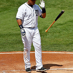 March 14, 2012; Lakeland, FL, USA; Detroit Tigers third baseman Miguel Cabrera (24) reacts after striking out to end the bottom of the first inning of a spring training game against the New York Mets at Joker Marchant Stadium. Mandatory Credit: Derick E. Hingle-US PRESSWIRE