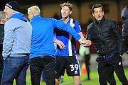 RED CARD Joe Bunney is restrained by substitute Conrad Logan and coach Barry Barry Murphy after being sent off during the EFL Sky Bet League 1 match between Swindon Town and Rochdale at the County Ground, Swindon, England on 18 October 2016. Photo by Daniel Youngs.