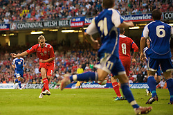 CARDIFF, WALES - Saturday, October 11, 2008: Wales' David Edwards scores the opening goal against Liechtenstein during the 2010 FIFA World Cup South Africa Qualifying Group 4 match at the Millennium Stadium. (Photo by David Rawcliffe/Propaganda)