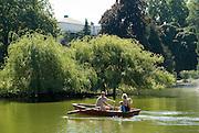 Palmengarten, See mit Ruderboot, Frankfurt am Main, Hessen, Deutschland | Palmengarten, botanical garden in Frankfurt, lake and rowing boat, Germany