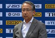 JAAF president Hiroshi Yokokawa during a news conference prior to the IAAF World Relays, Friday, May 10, 2019,  in Yokohama, Japan.
