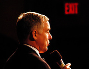 Manchester, New Hampshire, USA, 26.01.2004; An exit sign is glooming in the background as Howard Dean holds a speach at a rally at Palace Theater in Manchester.<br /> <br /> Photo; Orjan F. Ellingvag/ Dagbladet *** Local Caption *** , moved to edited 20061223