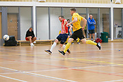Michael Connnor opens the scoring for Wattcell Futsal Club (red and white) v TMT Futsal Club (yellow) in the Scottish Futsal Cup Final at Perth College, Perth, Photo: David Young<br /> <br />  - © David Young - www.davidyoungphoto.co.uk - email: davidyoungphoto@gmail.com
