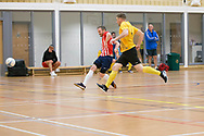 Michael Connnor opens the scoring for Wattcell Futsal Club (red and white) v TMT Futsal Club (yellow) in the Scottish Futsal Cup Final at Perth College, Perth, Photo: David Young<br /> <br />  - &copy; David Young - www.davidyoungphoto.co.uk - email: davidyoungphoto@gmail.com