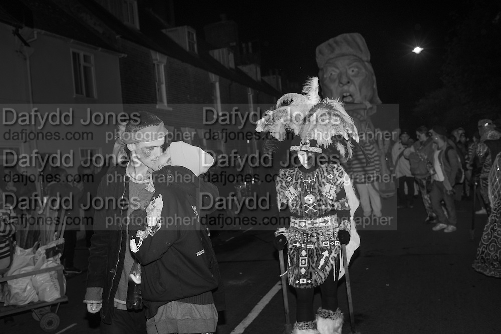 COUPLE KISSING IN FRONT OF DONALD TRUMP EFFIGY, Lewes Bonfire Night Celebrations , November 5th 2016