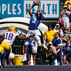 October 1, 2011; Baton Rouge, LA, USA;  Kentucky Wildcats wide receiver Matt Roark (3) catches a touchdown over LSU Tigers safety Brandon Taylor (18) during the fourth quarter at Tiger Stadium. LSU defeated Kentucky 35-7. Mandatory Credit: Derick E. Hingle-US PRESSWIRE / © Derick E. Hingle 2011