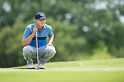 Jordan Spieth reads a putt during the first round of the AT&T Byron Nelson in Las Colinas, Texas on May 28, 2015. (Cooper Neill for The New York Times)