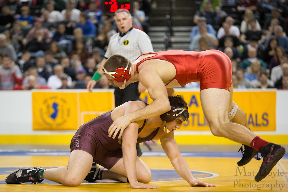 Bryan Dobzanski of Delsea defeats Zack Chakonis of Don Bosco Prep during the 220 lb NJ individual state wrestling final held at Boardwalk Hall in Atlantic City on Sunday March 9, 2013. (photo / Mat Boyle)