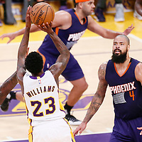 06 November 2016: Los Angeles Lakers guard Louis Williams (23) takes a jump shot over Phoenix Suns center Tyson Chandler (4) during the LA Lakers 119-108 victory over the Phoenix Suns, at the Staples Center, Los Angeles, California, USA.